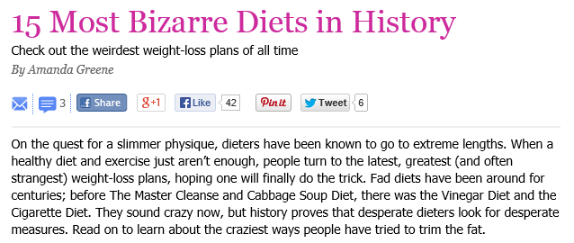 15 Most Bizarre Diets in History